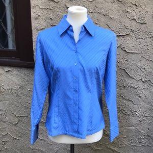 Talbots blue cotton blouse